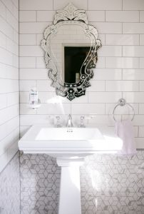 Stunning large ceramic pedestal basin accompanied with an incredible custom glazed mirror