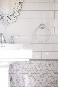 A snippet of all the gorgeous shapes and features in this powder room renovation