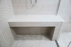 Tiled bench seat in the shower