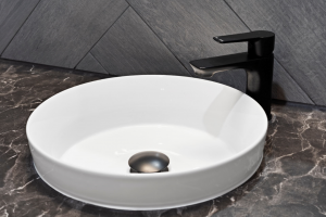 Semi Inset Basin with Matte Black Tapeware